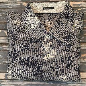 🔥 Bugatchi mens L blue floral button up shirt